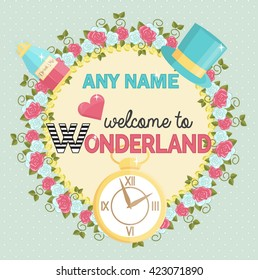Lovely personal invitation for themed wonderland party. Customize template by adding name and time. Decorated with border of roses, hat and magic potion.