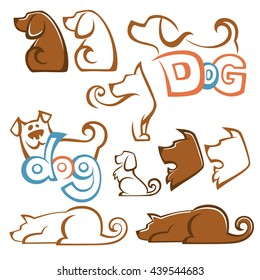 lovely pets, vector collection of dog images for your logo or emblems