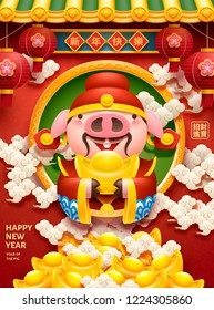 Lovely piggy bureaucrat holding gold ingot design with happy new year and wishing wealth comes to you words written in Chinese characters on spring couplet and the right side