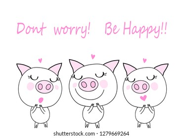 lovely pigs ,cute pigs with little pink heart  cartoon vector eps.10