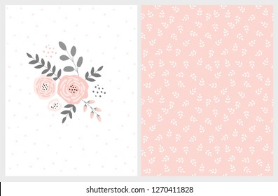 Lovely Pink Bouquet Vector Card and Floral Pattern. Pink Abstract Flowers Gray Twigs and Leaves. Infantile Style  Design. White Background with Delicate Dots. Soft White Leaves on Pink Background.