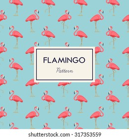 Lovely pink flamingo vector flat seamless pattern in light blue and pink color scheme. Ideal for wrapping paper printables, website background, wallpaper and fabric design. Artwork on separate layer