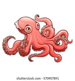 Lovely pink octopus on a white background isolated. Marine cephalopod animal. Vector cartoon illustration. Manual sketch.