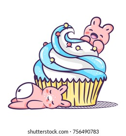 Lovely pink rabbits eat a delicious cake with cream in a paper basket. Excellent illustration for printing on children's clothes, dishes, labels and stickers.