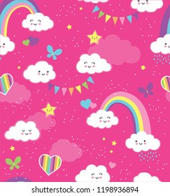 Lovely Pink Rainbow Sky repeating vector pattern. A seamless repeat of happy clouds, rainbows, hearts and butterflies in fun girly colors.