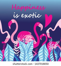 Lovely pink vector flamingo on a blue background. Template for decoration of card, postcard or poster.