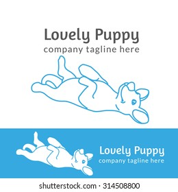Lovely pup contour logo illustration isolated on white background line thickness fully editable