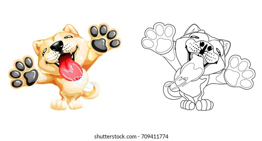 The lovely puppy Akita Inu licks glass standing on hinder legs. Colorfull and lineart yellow dog, page coloring book. A vector illustration separately on white.