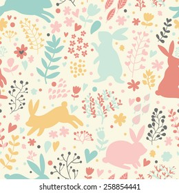 Lovely rabbits in hearts and flowers. Cute childish seamless pattern in cartoon style. Seamless pattern can be used for wallpapers, pattern fills, web page backgrounds, surface textures