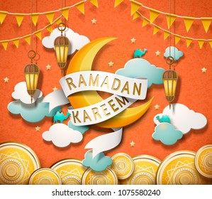 Lovely Ramadan Kareem design in paper art style, crescent and decorative plates on orange background
