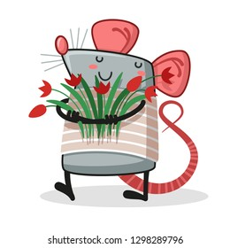 Lovely rat holding a bouquet of flowers