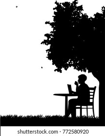 Lovely retired elderly woman drinking cup of coffee and reading the newspaper under the tree silhouette. Layered vector illustration