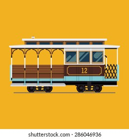 Lovely retro detailed vector cable car, side view, isolated | Mass transit vintage graphic element on cable rail car. Ideal for urban lifestyle, touristic and sightseeing graphic and web design