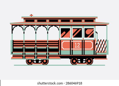 Lovely retro three colored cable car, side view, isolated | Mass transit vintage graphic element on cable rail car. Ideal for urban lifestyle, touristic and sightseeing graphic and web design