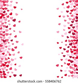 Lovely romance valentine vector white backgrouns with pink and red heart borders. Valentines day card template.