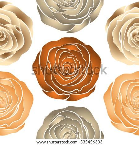 Lovely Rose Flowers Orange Beige Brown Stock Vector Royalty Free