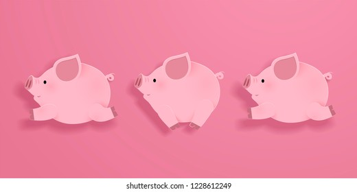Lovely running piggy on pink background in paper art style