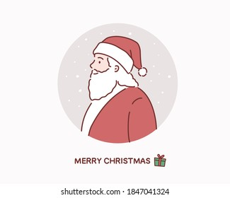 Lovely Santa Claus at Winter Background. Hand drawn style vector design illustrations.