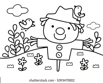 Lovely scarecrow with birds protect the filed without color