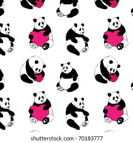 Lovely Seamless Background With Pandas And Pink Hearts