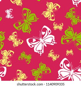 Lovely seamless butterfly iterative pattern isolated on contrast back layer. Nature butterfly repeat theme vector. Wildlife insect fauna backdrop for interior.