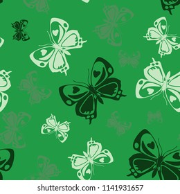 Lovely seamless butterfly iterative pattern isolated on contrast back layer. Flying butterfly repeat theme vector. Wildlife insect fauna backdrop for wrapping paper.