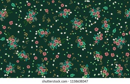 Lovely seamless floral pattern with bright colorful small flowers. Folk style millefleurs. Plant background for textile, wallpaper, covers. Bright template for fashion prints.