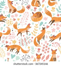 Lovely seamless pattern with cute foxes and flowers. Awesome background in bright colors in vector
