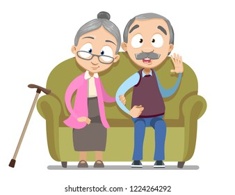 Lovely senior couple sitting on sofa together. Aged people enjoying sincere feelings for many long years in marriage cartoon personages. Happy family relationship in old age vector illustration.