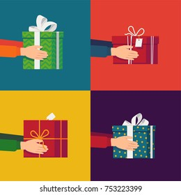 Lovely set of Christmas themed vector illustrations with hands holding different gift and present boxes. Boxing day minimalistic visuals. Xmas gift interchange