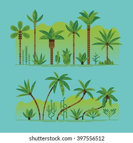Lovely set of vector green palm trees and other tropical exotic plants. Lush forest. Rainforest jungle trees, plants, shrubs and bushes, paradise beach resort crooked palm trees, trendy flat design