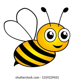 Lovely simple design of a cartoon yellow and black bee on a white background