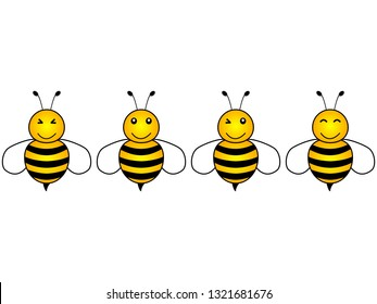 Lovely simple design of a cartoon yellow and black bees on a white background