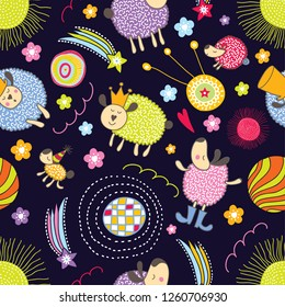 Lovely sleepy sheep. Cute seamless pattern.  Can be used in textile industry, paper, background, scrapbooking.