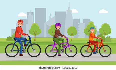 Lovely smiling active family riding on bicycles in the park. Active lifestyle concept. Urban landscape
