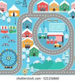 Lovely snowy city landscape car track seamless pattern play mat for children activity and entertainment. Winter city landscape with mountains, park, mall, buildings, plants and endless car road.
