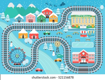 Lovely snowy city landscape train railroad play mat for children activity and entertainment. Winter city landscape with mountains, park, mall, buildings, plants and endless train rails.