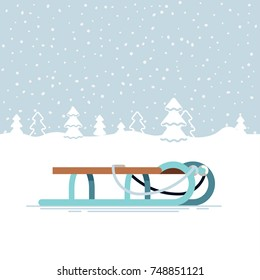 Lovely snowy winter landscape with classic sleigh. Winter holiday festive season outdoors activities and recreation
