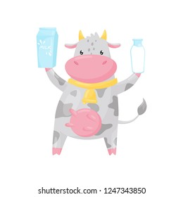 Lovely spotted cow with bottle and paper box of milk, funny farm animal cartoon character vector Illustration on a white background
