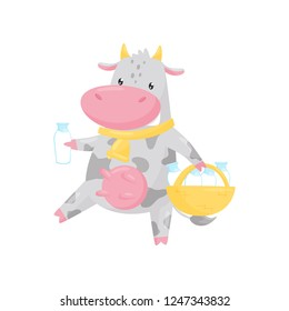 Lovely spotted cow carrying a basket of milk bottles, funny farm animal cartoon character vector Illustration on a white background
