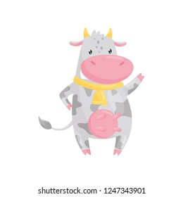 Lovely spotted cow with golden bell, funny farm animal cartoon character vector Illustration on a white background