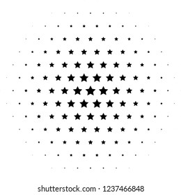 Lovely stars halftone design. Black stars arranged in a circle.