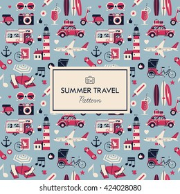 Lovely Summer Travel vector flat seamless pattern in pale blue and deep pink colors. Ideal for wrapping paper printables, website background, wallpaper and fabric design. Artwork on separate layer