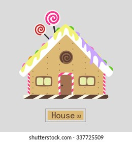 Lovely Sweet Candy House, Vector Illustration.