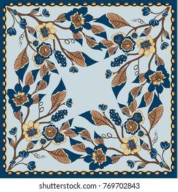 Lovely tablecloth ethnic indian flowers. Beautiful vector ornament. Card, bandana print, kerchief design, napkin. Dark blue beige ornate pattern on pastel vlue. Ready for print.