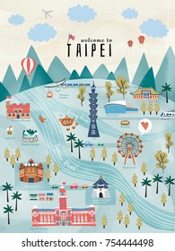 Lovely Taiwan travel concept, hand drawn style illustration with famous attractions in Taipei