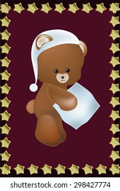 lovely Teddie bear with a pillow, stars frame