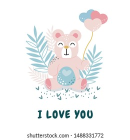 Lovely teddy bear, Love yourself sweet illustration with polar bear and floral ornament,