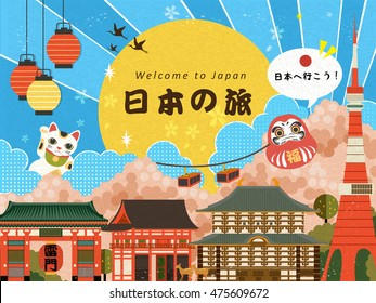 Lovely travel poster with famous attractions. words and let's go to Japan in Japanese in the middle. Lucky words on the daruma and thunder Gate japanese name on the lantern