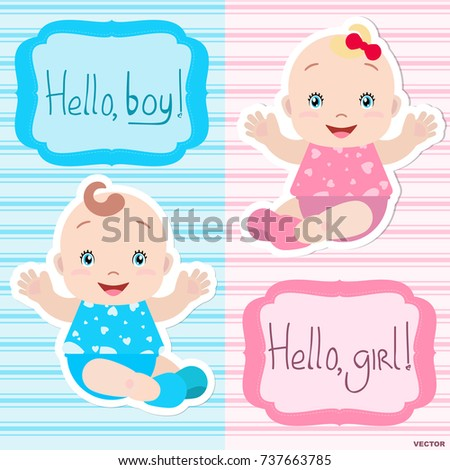 Lovely Twins Vector Babies Boy Girl Stock Vector Royalty Free